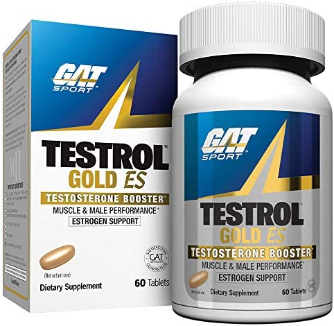 GAT Sport Testrol Gold ES, Testosterone Booster with Estrogen Support, Builds Muscle, Increases Stamina, Enhances Performance 60 Tablets