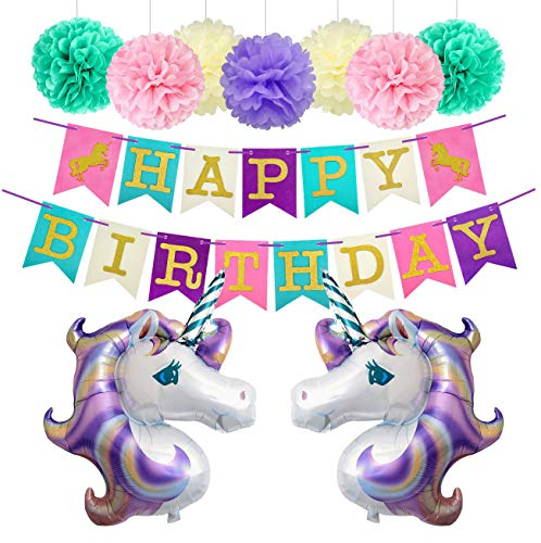 Unicorn Birthday Party Decorations Foil Balloons Glitter Happy Birthday Banner Paper Pom Poms Kit