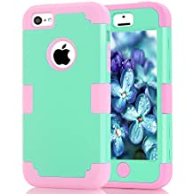 iPhone 5C Case, MCUK [Shock Absorption] [Drop Protection] Hybrid Best Impact Defender Cover Shell Plastic Outer & Rubber Silicone Inner for Apple iPhone 5C (Mint+Pink)
