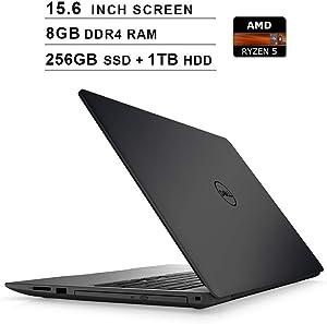 Dell Inspiron 15 5000?15.6 Inch FHD 1080P Laptop - AMD 4-Core Ryzen 5 2500U up to 3.6 GHz, AMD Radeon Vega 8, 8GB DDR4 RAM, 256GB SSD (Boot) + 1TB HDD, WiFi, Windows 10 Home,?Black (Renewed)