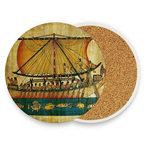 (LoveBea Ancient Egyptian Culture Coasters, Protection for Granite, Glass, Soapstone, Sandstone, Marble, Stone Table - Perfect Cork Coasters,Round Cup Mat Pad for Home, Kitchen Or Bar 1)