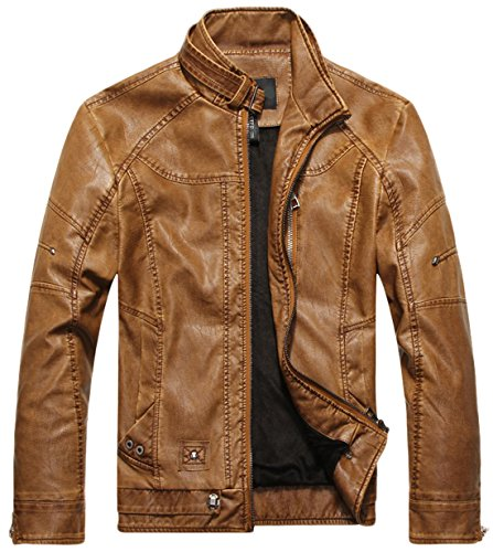 Jacket Collar Men's Pu Vintage Stand Leather Chouyatou Brown tqYpS