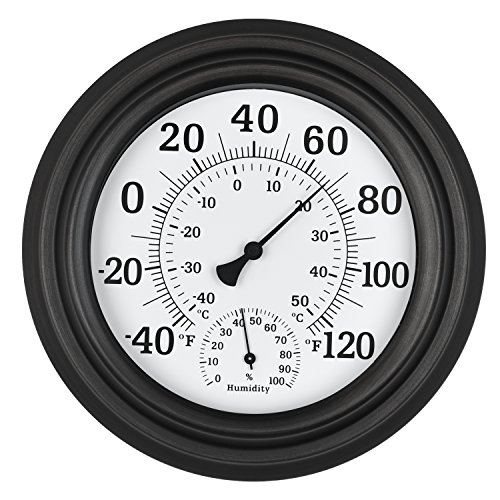 WiHoo 8''Indoor Outdoor Thermometer/Hygrometer of Antique Copper Finish Decorative Wall Thermometer for Outdoor/patio/room by WiHoo