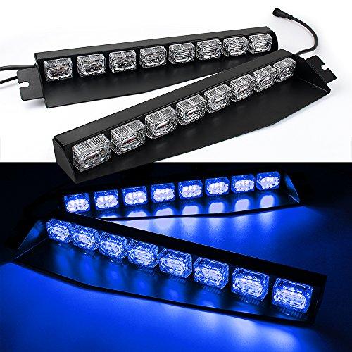 Cheap 48LED 48W LED Lightbar Visor Light Windshield Emergency Hazard Warning Strobe Beacon Split Mount Deck Dash Lamp (Blue) hot sale