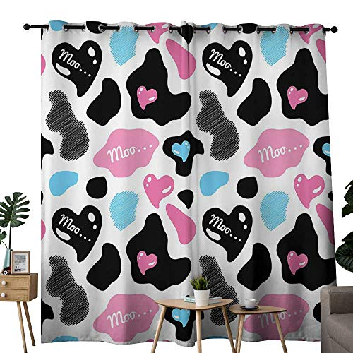 (LewisColeridge Room Darkening Wide Curtains Cow Print,Cow Hide with Hearts Moo Barnyard Love Valentines Abstract Design,Light Pink Black White,Light Blocking Drapes with Liner)