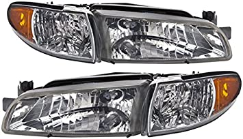 HEADLIGHTSDEPOT Chrome Housing Halogen Headlights Compatible With Pontiac Grand Prix 1997-2003 Includes Left Driver and Right Passenger Side Headlamps