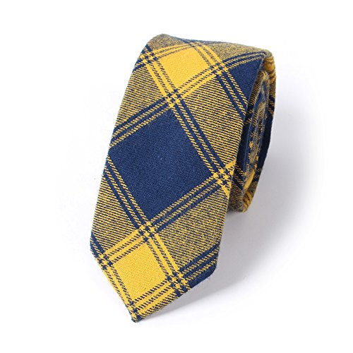 Plaid Jacquard Skinny Necktie Narrow Tie (03) (Plaid Narrow Tie)