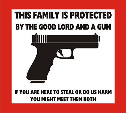 RT781 This Family is Protected by The Good Lord and A Gun full Color Vinyl Decal | Use on Yeti Cup Cooler Truck Jeep Window Boat Toolbox Tackle box Laptop Mirror | 5