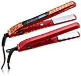 CHI Smart Gemz Volumizing Zirconium Titanium Garnet Metallic Foil 1 Inch Hairstyling Iron With 3/4 Inch Travel Iron, Hair Clips and Thermal Pouch, Garnet Metallic