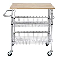 Deals on StyleWell Gatefield Chrome Large Kitchen Cart with Rubber Wood Top