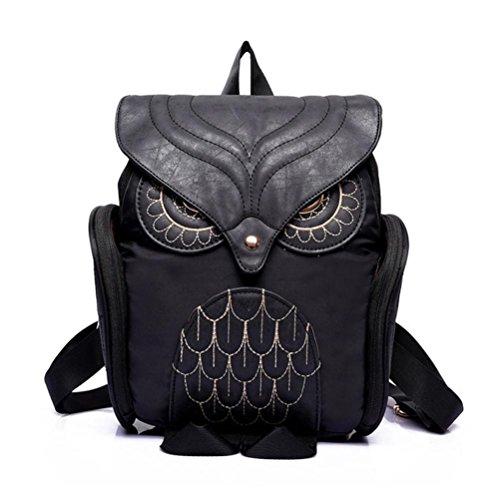 Feminina Mujer Backpack Women Female Owl School Bluester Bag Black Escolar Mochila Leather nTAxq8