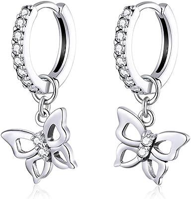 Sterling Silver Butterfly Earrings delicate long chain drop CZ gold ear jacket