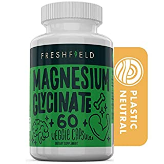 Freshfield Magnesium Glycinate 400mg Supplement | Relax Muscles | Reduce Cramping | Stress Relief | Sleep Better | Vegan | Plastic Neutral | Gluten Free | Non-Laxative | 60 Veggie Capsules