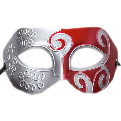 Rehot Mens Masquerade Mask Vintage Half Face Party Mask Mardi Gras Christmas Halloween Mask (Silver+red (Half Price Halloween)