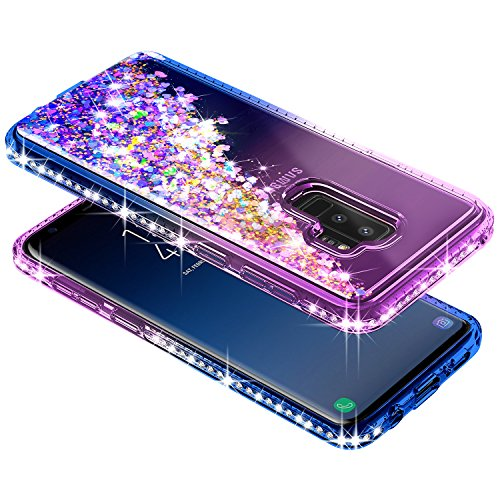 Galaxy S9 Plus Case w/[Full Coverage Screen Protector HD], NageBee Glitter Liquid Quicksand Floating Shiny Sparkle Flowing Bling Diamond Luxury Clear Cute Case For Samsung Galaxy S9 Plus -Purple/Blue by NageBee (Image #2)