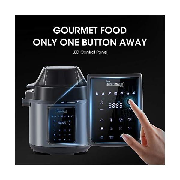MICHELANGELO 6 QT Pressure Cooker Air Fryer Combo, All-in-1 Pressure Cooker with Air Fryer - Two Detachable Lids for… 6