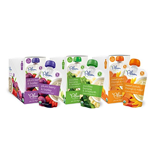 Plum Organics Baby Second Blends Fruit and Grain Variety Pack, 18 Count