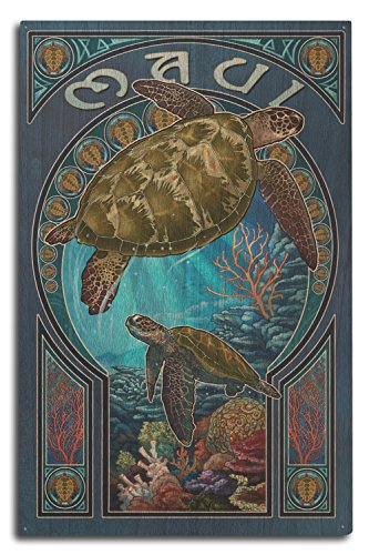Lantern Press Maui, Hawaii - Sea Turtle Art Nouveau (10x15 Wood Wall Sign, Wall Decor Ready to Hang) ()