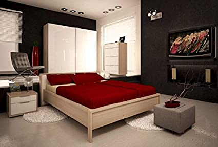 Camera Da Letto Matrimoniale Componibile Completa Color Frassino E Laccato Bianco Lucido Amazon It Casa E Cucina