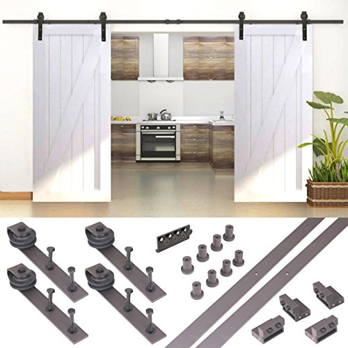 10FT Country Antique Dark Coffee Steel Sliding Barn Wood Door Hardware Track (California Bookcase Cabinet)