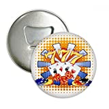 Casino Dice Chips Poker Illustration Round Bottle Opener Refrigerator Magnet Badge Button 3pcs Gift