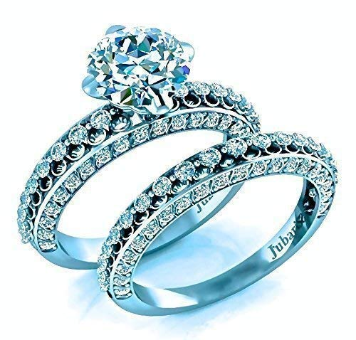 2Ctw Round Diamond Engagement Ring&Wedding Ring Sets Contemporary Jubariss Designer Custom Handmade Fine Jewelry