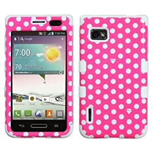 MYBAT Dots TUFF Hybrid Phone Protector Cover for LG Optimus F3 MS659, VM720, LS720, Retail Packaging, Pink White/White
