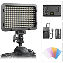 LED Video Light, ESDDI 176 LED Ultra Bright Dimmable Camera Light Panel for Canon, Nikon, Pentax, Panasonic, Sony, Samsung, Olympus and Other Digital SLR Cameras/Camcorders