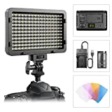 #5: LED Video Light, ESDDI 176 LED Ultra Bright Dimmable Camera Panel Light with battery and USB Cable for Canon, Nikon, Pentax, Panasonic, Sony, Samsung, Olympus and All DSLR Cmeras