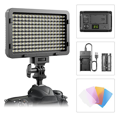 176 LED Video Light,ESDDI 5600K Ultra Bright Dimmable Panel Light With Battery and Charger , for Canon, Nikon, Pentax, Panasonic, Sony, Samsung, Olympus and Other DSLR from ESDDI