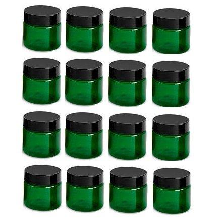Plastic Jars with Black Lids - Set of 16 ()