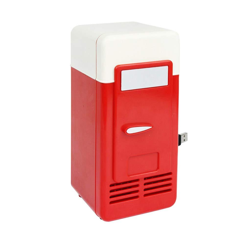 prettDliJUN Mini Auto Home Space Saving Food Drinks Storage USB Refrigerator Cooler Summer Beach Chilling Red