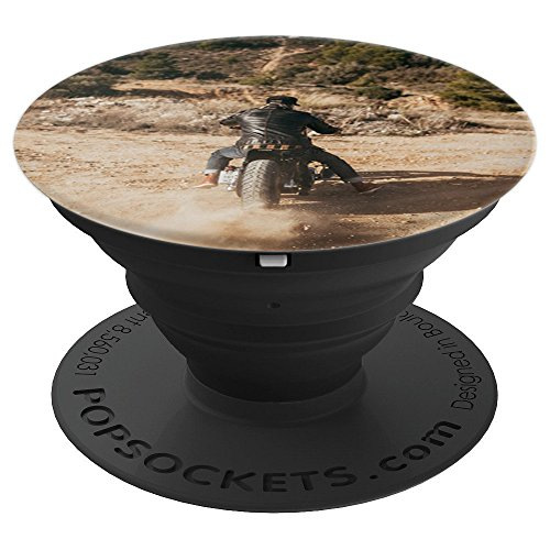 Vintage Motorcycle Sand Burnout Adventure Photograph - PopSockets Grip and Stand for Phones and Tablets ()