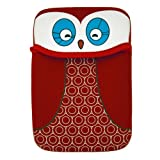 Buhbo Universal Reversible Neoprene Sleeve Cover for Kindles and eReaders, Red Black Owl