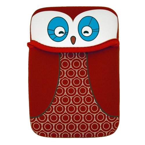 (Buhbo Universal Reversible Neoprene Sleeve Cover for Kindles and eReaders, Red Black Owl)