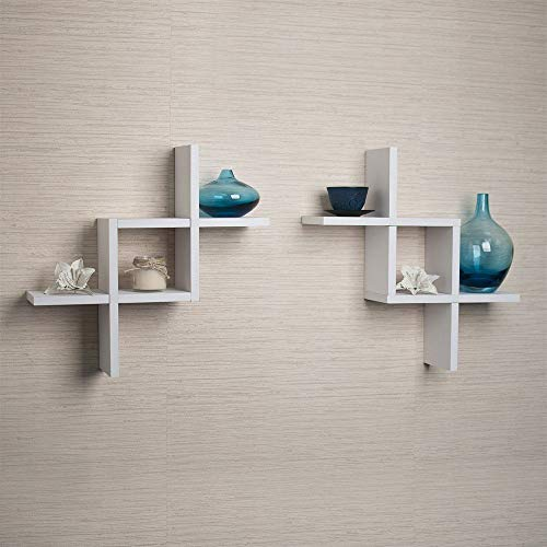 Danya B FF2513W Set of 2 Reversed Criss Cross White Shelves, 2,
