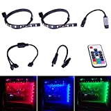 Relohas RGB LED Strip Light, 5050 SMD 2pcs 18leds 30cm PC Computer Case Light, Fixed By Powerful Magnet with Multi Function RF Remote Controller Suitable For Desktop Computer Mid Tower Case Review