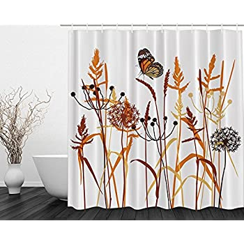 dandelions thistles flower leaf seeds bouquet monarch butterfly wheat field wild nature art decor floral curtains print polyester fabric shower curtain