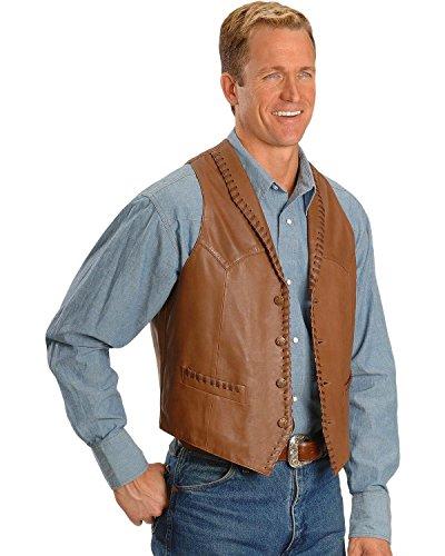 Scully Men's Whipstitch Lamb Leather Vest Tan X-Large Tan Leather Vest