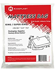 Self Adhesive King Mattress Bag for Moving and Storage, 3 Mil California King Mattress Cover with Double Adhesive Strips