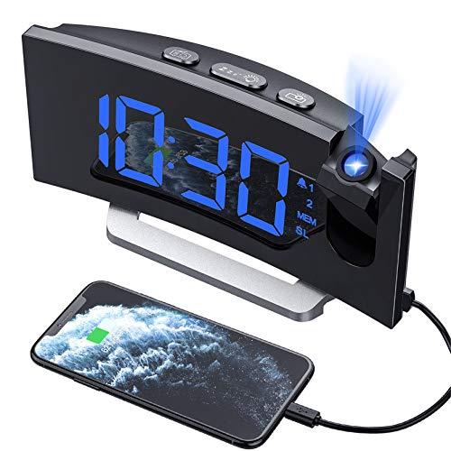 Hommak Radiosveglia con Proiettore, Sveglia Digitale da Comodino 2 Allarme, 4 Suoni e 3 Volumi, 15 FM Radio, USB Porta, 6 Luminosità di Display 4 Luminosità di Proiezione Snooze (Adattatore Incluso)