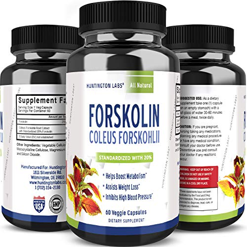 Max Strength Forskolin Weight Loss Supplement for Men and Women - Fast Acting Diet Pills Natural Appetite Suppressant Potent Fat Burner Builds Muscle Boosts Energy 60 Veggie Capsules