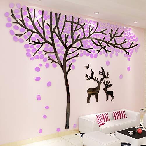 3D Wall Stickers DIY Large Christmas Crystal Acrylic Couple Tree Deer Wall -