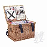 Joules Picnicbasket Rattan Picnic Basket With Handle (Y) Grey Whitstable Floral One Size