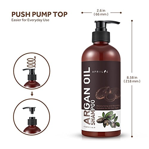 Moroccan Argan Oil Shampoo and Conditioner Set, Organic Volumizing & Moisturizing Treatment for Hair Loss, Damage, Thinning and Color Treated Hair, Hair Regrowth for Men & Women, 2 x 16 fl. oz. by Aprilis (Image #6)