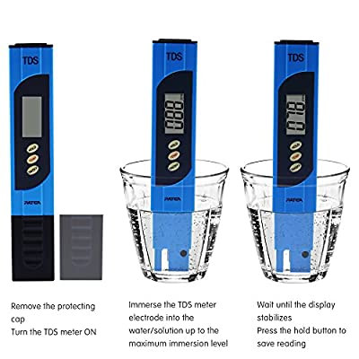 TDS Patea, High Accuracy Digital Meter for Water,Portable TDS Tester Meter with 0-9990 ppm Measurement Range , 1 ppm Resolution, +/- 2% Readout Accuracy-tds water tester(TDS-EZ)
