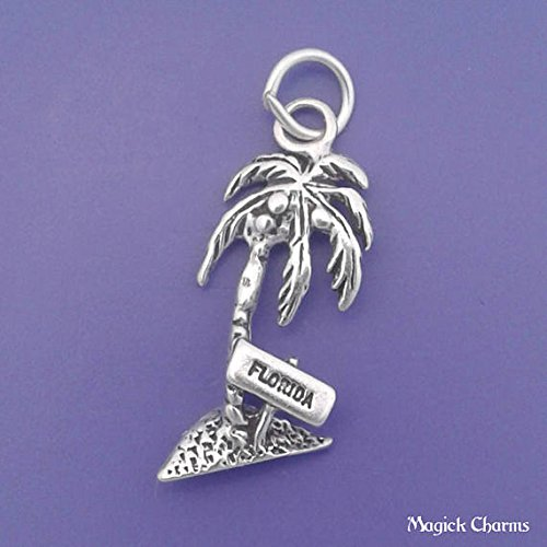 (925 Sterling Silver Florida Palm Tree Charm Pendant Jewelry Making Supply, Pendant, Charms, Bracelet, DIY Crafting by Wholesale Charms)