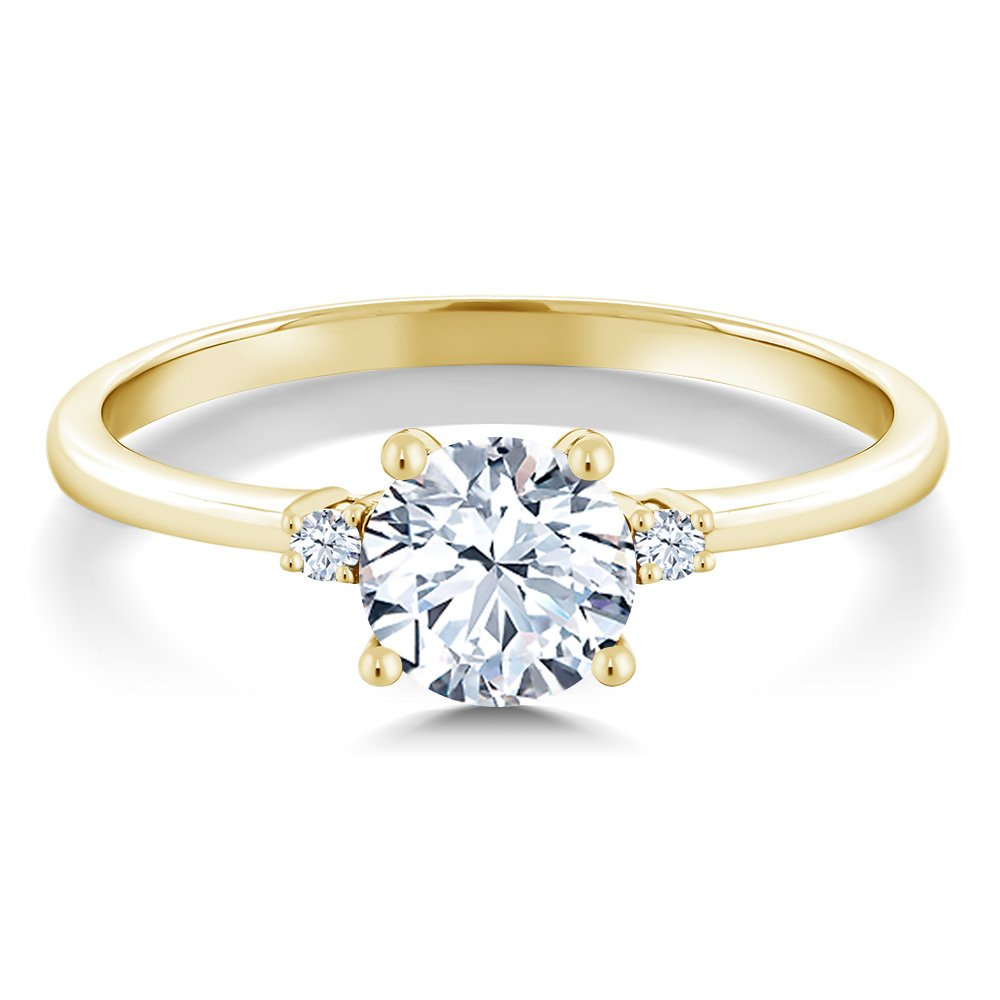 10K Yellow Gold Engagement Solitaire Ring set with 1.23 Ct Round Hearts And Arrows White Created Sapphires (Size 6) by Gem Stone King (Image #2)