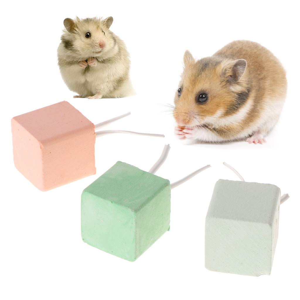 Abicial Hamster Teeth Grinding Stone Mineral Calcium Rabbit Rat Squirrel Toys Cube Hang