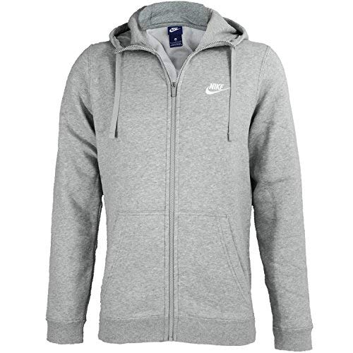 NIKE Sportswear Mens Full Zip Club Hoodie, Dark Grey Heather/Dark Grey Heather/White, Large